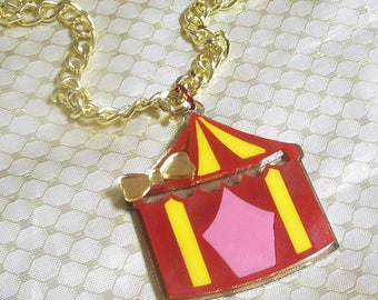 Colorful CIRCUS TENT Acrylic Necklace with Thick Gold Tone Chain / Bow / Clasp
