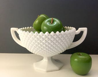 Westmoreland Glass English Hobnail milk glass footed bowl - 1940s