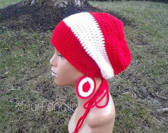 MADE TO ORDER Red and White Slouch Hat/ Dreadlock Hat/ Slouchy Beanie/ Tam with drawstring and free crochet earrings/ adjustable