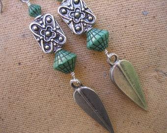 15%off TRIBAL SILVER EARRINGS boho chic earrings dramatic earrings large earrings