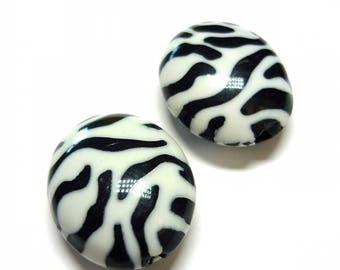 Lot 2 zebra-striped plastic beads 23mm oval