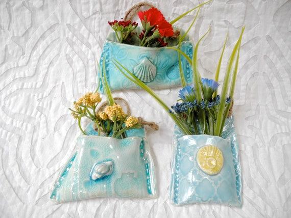 Aqua blue Wall pockets, Free Shipping, hanging planters, tiny planters, ceramic wall pockets, wall vase, textured planters, planter set