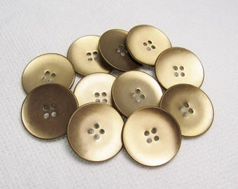"Brushed Gold: Large 1-1/16"" (26mm) Metal Buttons - Set of 11 Vintage New Old Stock Matching Buttons"