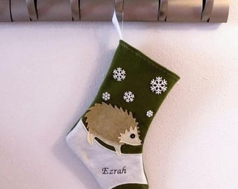 CHRISTMAS IN JULY Hedgehog Personalized Christmas Stocking by Allenbrite Studio