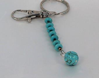 Gemstone keychain, purse charm, turquoise key chain, key fob, fob, key chain, key ring, key chain ring, key ring