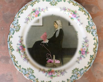 Whistler's Mother or Arrangement in PINK  ....Up-Cycled Antique Plate