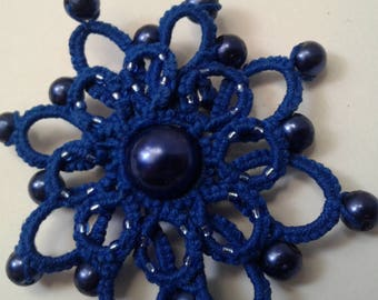 Royal blue tatted lace flower pin with beads