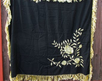 Beautiful Victorian Black and Gold Silk Embroidered Table Cloth - With Gold Fringing