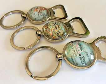 Custom MAP Bottle Opener KEYCHAIN / Groomsmen Gift / Gift for Him /  You Pick the Location / vintage map / personalized / map key ring