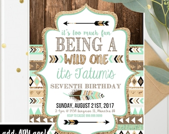 Wild one Tribal Birthday Invitations - Boy - Printable Invites for ANY age - Brown Teal Gold - Wild One Birthday- Instant Download