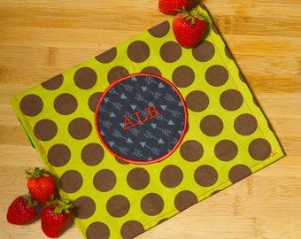 Reusable Snack Bag | Green & Brown Polka Dots with Arrow Circle Applique