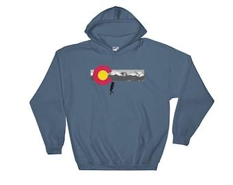 Colorado Flag Mountain Climber Pullover Hoodie