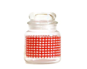 Vintage Glass Canister, Glass Candy Jar, Red Gingham Plaid, Anchor Hocking Glass