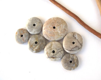 Stone Cairn Rock Donut Beads Mediterranean Beach Stone Stacks Pebble Rock Centre Drilled Beads River Stone Spacers COOL WHEELS 17-28 mm