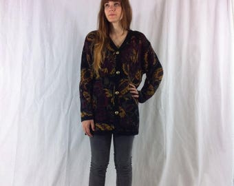 SALE medium oversized black cardigan withpaisley and floral print- hippie HIPSTER indie UNISEX grandpa style