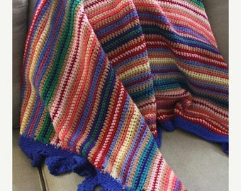 SALE vintage crochet colorful woven blanket- wall hanging- decor