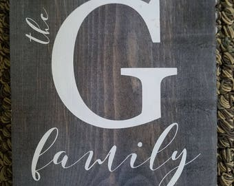 Rustic Faux Barnwood letter G family sign  Wall hanging READY TO SHIP  G family monogram sign