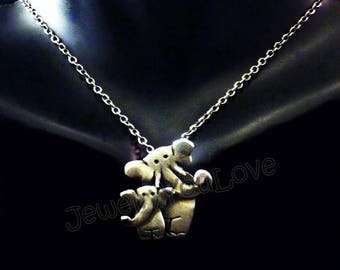 Sterling Silver Mother and Baby Elephant - Mary and Stumpy