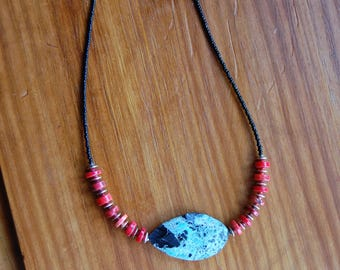 """Blue and black howlite pendant with red howlite and black glass beads 22"""""""