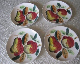 Vintage Dish Set Dessert Salad Plates Hand Painted Fruit Design Motif Nasco Del Coronado