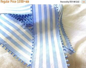 SHIPPING DELAY SALE 10% Blue and White Striped Ribbon, Vintage Picot Ribbon, White and Sky Blue Taffeta Ribbon, Wide Ribbon, Picot Edge, Vin