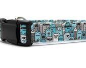 Blue Monster Dog Collar | Your choice of metal buckle or plastic buckle | Halloween Dog Collar | Boy Dog Collar | Girl Dog Collar