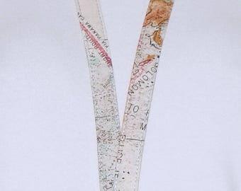 Breakaway Lanyard -  ID Badge - Lanyard - Key Lanyard - Id Lanyard - Teacher Gift - World Map