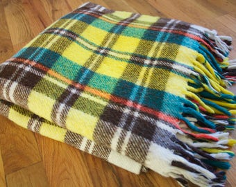 Vintage 1970's Yellow + Green + Brown Plaid Stadium Blanket