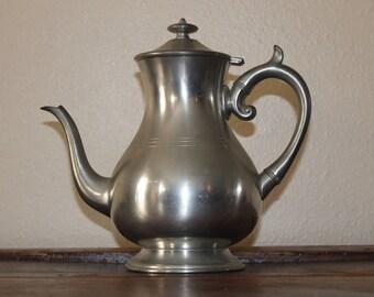 """Vintage Woodbury Pewters Tea Pot, Silver Tea Kettle 10"""""""