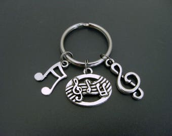 Music Keychain / Music Lover Keychain / Music Teacher Keychain / Musical Note Keychain / Treble Clef Keychain / Music Key Ring /