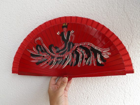 Simple Flamenco Dancer Red Hand Fan READY to SHIP