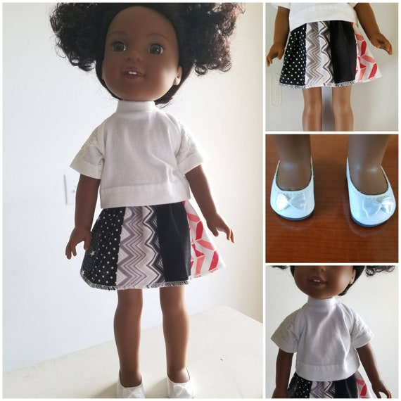Cotton patchwork Skirt, Cotton Top and Shoes with Lace Sleeves for 14.5 Inch Doll