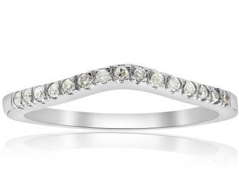 Diamond Ring Curved Wedding Ring White Gold Notched Engagement Enhancer Pave Contour Diamond Wedding Ring 14k White Gold