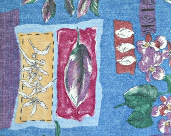 Faded Flowers Lightweight Denim Fabric 100 Percent Cotton, Fabric by the Yard, Sewing Fabric Denim Material