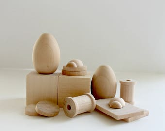 Open Ended Wood Play Set - 14 Pieces