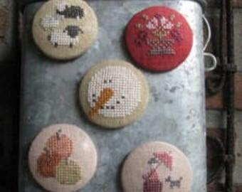 Pre-Order 2018 Nashville Market THISTLES Needle Friends counted cross stitch patterns at thecottageneedle.com needle nanny minder holder
