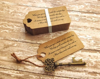 "Bulk Skeleton Key BOTTLE OPENERS + ""Poem"" Thank-You Tags – Wedding Favors Set - Ships from United States - Antique Bronze"