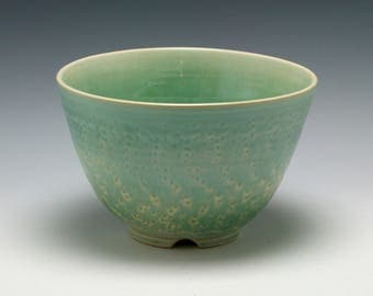 SECONDS - Handmade Ceramic Serving Bowl in Shades of Celadon green/Ceramics and Pottery