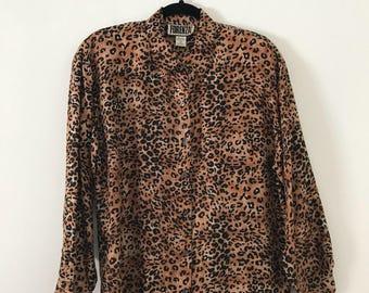 Vintage 100% Silk Leopard Blouse