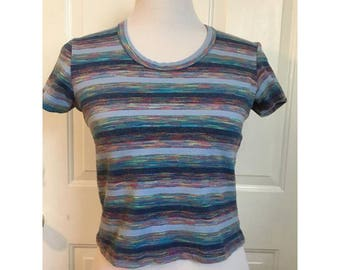 90's Lightblue Stretchy Crop Top with Colorful Stripes
