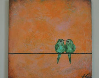 Bluebirds love birds on pink original painting textured wood canvas unique and cute wall art