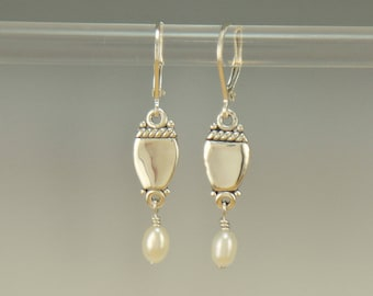 ER617- Sterling Silver Earrings with Fresh Water Pearls- One of a Kind