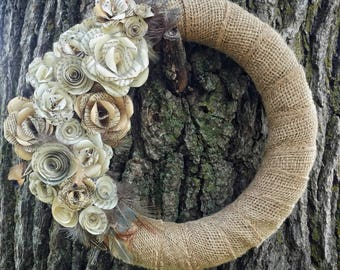 Paper Rose and burlap wreath, paper rose wreath, shabby chic wreath, Front Door Wreath, Door Wreath, Paper Flowers, Wreath w/ Burlap Ribbon