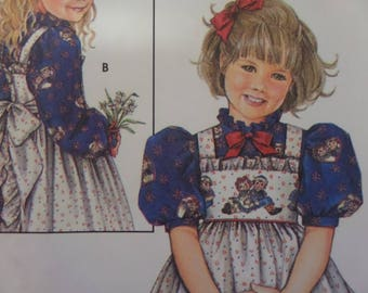 PUFF SLEEVE DRESS Pattern • Simplicity 9424 • Girls 5-8 • Daisy Kingdom • Tie Pinafore • Doll Dress • Childrens Patterns • WhiletheCatNaps