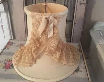 Antique Lamp Shade - French Boudiour - Beige Ruffled Lace