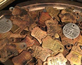 Antique Dog Tags Vintage Dog Licenses County and City c. 1940's - 1980's at Gothic Rose Antiques 7 dollars each