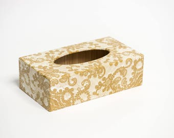 Gold Lace Long Tissue Box Cover handmade in UK wooden perfect gift