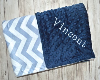 SALE Monogrammed Baby Blanket -  Chevron Minky Navy and Light Blue Personalized - Boy Blanket with name, Birth Stats Newborn