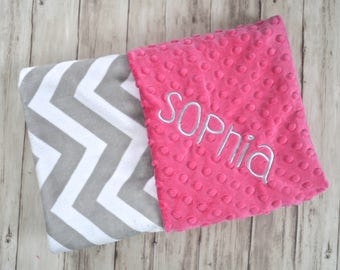 Monogrammed Baby Blanket - chevron Minky Blanket with Name, Gray and Hot Pink Personalized - Zig Zag Blanket with name Newborn