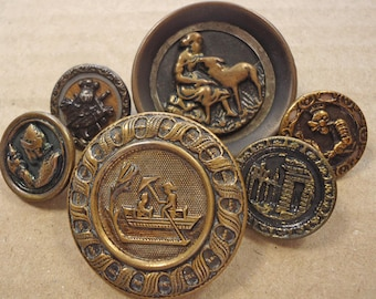 Antique metal picture buttons -  knights, boat, ruined building, etc  (Ref D30)
